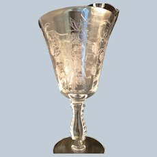 2 Fostoria Glass Heather Etch Low Water Goblets