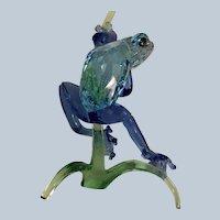 Swarovski Silver Crystal Frog on Branch MIB