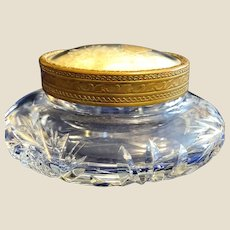 Brilliant Cut Glass Puff or powder box with a Butterfly under glass lid
