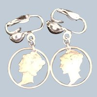 Pair of Cut Out Mercury Dime drop earrings