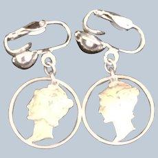 Pair of Cut Out Mercury Dime drop earrings