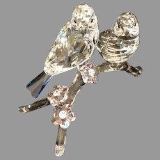 Swarovski Crystal 5004727 Blue Tits bird couple with Pink Flowers MIB