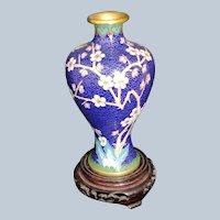 Chinese Cobalt blue Cloisonne Vase