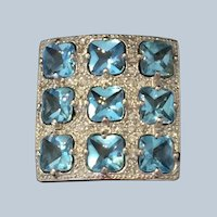 18 kt white gold, Blue Topaz and Diamond ring