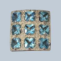 18 kt white gold, Blue Topaz and Diamond ring