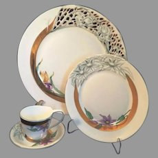 Herend Hungary Rare 4 piece Dinner set Romance Rete floral and openwork China special order only