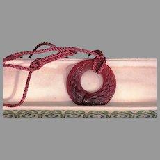 Lalique Crystal  Epis de Bles burgundy pendant on matching silk cork