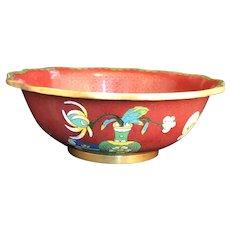 Rust Red Oriental Cloisonne Bowl