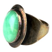 Larimar Green Modernist Vintage Sterling Q.T. 925 Quoc Turquoise Company Ring