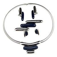 Monet Directives Line Modernist Blue Lucite Cobra Vintage Demi Parure Set
