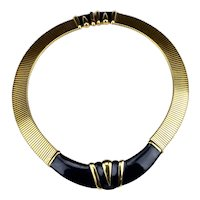 Massive Monet Black Enamel Omega Cobra Chain Motif Statement Collar Necklace