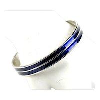Monet Classic Vintage Navy Blue Enamel Deco Silver Plate Bangle Bracelet