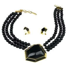 YSL Yves St. Laurent Bold Couture Modernist Black 3 Strand Necklace Earring Set