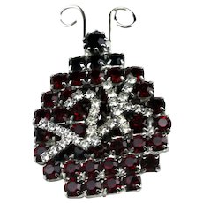 BETTINA VON WALHOF Y2K Vintage Black Glass Stone Crystal Rhinestone Ladybug Pin