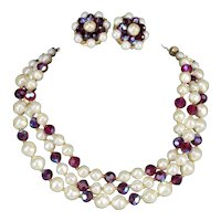 Laguna 3 Strand Faux Pearl & Aurora Borealis Amethyst Glass Necklace Earring Set