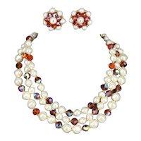Laguna 3 Strand Faux Pearl & Aurora Borealis Amber Glass Necklace Earring Set