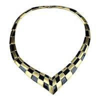 Stunning Trifari KUNIO MATSUMOTO Bold Black Enamel Deco Modernist Necklace