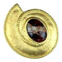 Vintage Leslie Block Matte Gold Plate Semi Precious Marble Cabochon Modernist Pin