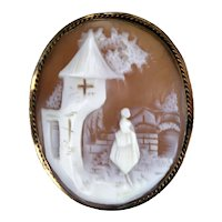 Vintage Gold Filled Genuine Carved Cameo Village Scene Bezel C Clasp Pin