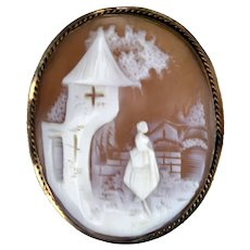 Vintage Gold Filled Genuine Carved Cameo Village Scene Bezel C Clasp Pin