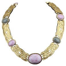 Monet Bold Pink Gray Marble Lucite Cabochon Chunky Interlocking Collar Necklace