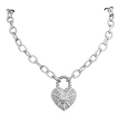 Judith Ripka 925 Sterling Silver CZ Removable Heart Pendant Chain Necklace