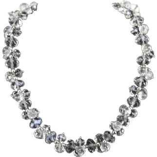 Nolan Miller Facet Cut Leaded Crystal Glass Cluster Bead Vintage Necklace