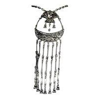 Egyptian Revival Massive Bold King Tut Cleopatra Cast Dangle Tassel Necklace
