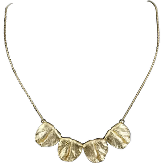 Crown Trifari Vintage Matte Gold Plate Cast Textured Leaves on Chain Necklace