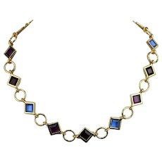 Swarovski Swan logo Vintage Deco Red Blue Purple Square Cushion Stone Necklace