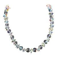 Vendome Bold Aurora Borealis Facet Crystal Glass Chunky Collar Necklace