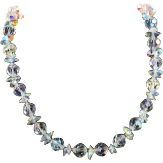 Vendome Bold Aurora Borealis Facet Crystal Glass Chunky Collar Necklace