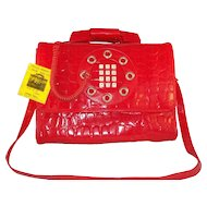 Vintage 1970's Red Mock Crocodile Telephone Purse