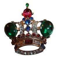 Trifari Rhinestone and Glass Cabochon Crown Pin