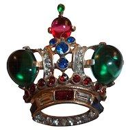 Trifari Rhinestone and Glass Cabochon Crown Pin