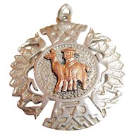 Vintage Sterling Silver Lama with Man Pendant