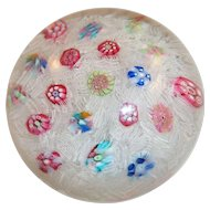 Baccarat Scattered Millefiori on Lace Paperweight SIGNED