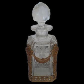 French Napoleon lll Empire Style Cut Crystal Gilt Ormolu Perfume Bottle
