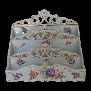 Antique English Empire Works Porcelian Letter Holder Desk Organizer