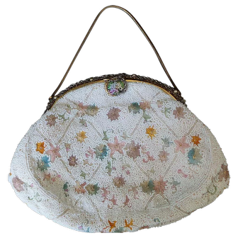 Vintage Walborg Pastel Floral Beaded Purse
