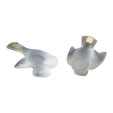 Two Frosted Lalique Sparrow Birds