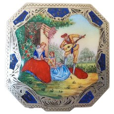 Vintage Italian Gilt Silver and Enamel Compact