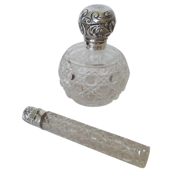 Antique Sterling Silver Cut Glass Perfume Bottle and Lay Down Perfume Bottle
