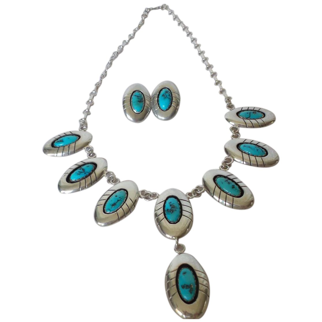"""Navajo Sterling Turquoise Shadow Box Set Signed """"P ..."""
