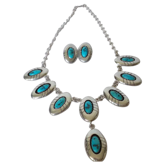 """Navajo Sterling Turquoise Shadow Box Set Signed """"P"""""""