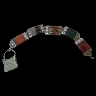 Antique Victorian Scottish Agate Bracelet with Padlock Clasp
