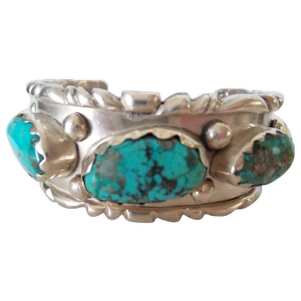 Sterling Silver Genuine Turquoise Nugget Old Pawn Navajo Bracelet