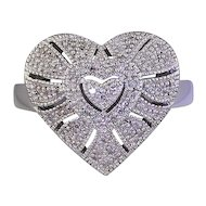 Sterling Silver Ring w/ Pave Diamonds in Heart Motif