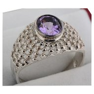 Sterling Ring in Filigree Motif w/Amethyst