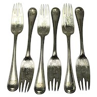 Six EPNS Fish Forks